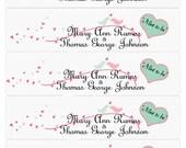 "Mint Pistachio and Parfait Pink birds and hearts digital wedding water bottle label 2x 7.5 "" Printable DIY"