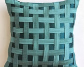 "Handmade Teal Blue Pillows Cover, 16""x16"" Silk Pillowcase, Square  Textured Basket Weave Pillows Cover - Peacock Green N Teal Basket Weave"