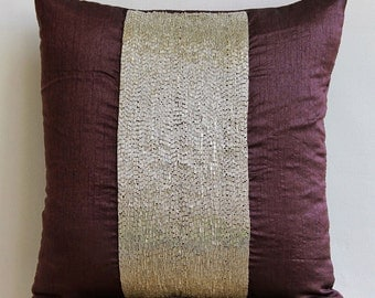Decorative Throw Pillow Covers Accent Pillow Couch Pillow 16x16 Inch Pillow Cover Silk Dupioni Embroidered Pillow Case Purple Center Bedding