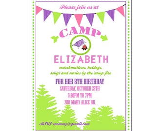 Camping Party invitation- Camping Birthday Invitation- Digial File, print yourself - Outdoor Fall Birthday party