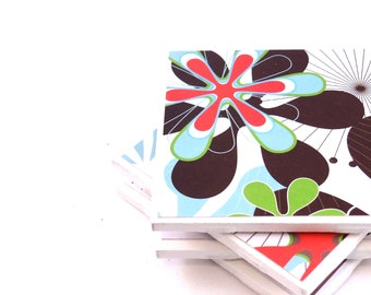 Tile Coasters - Black, Light Blue, Red and Green Floral - Set of 4 Tile Coasters