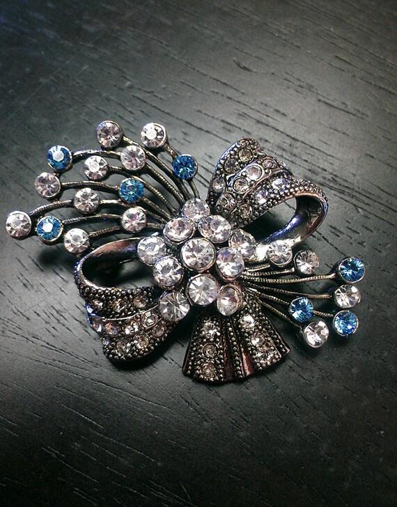 Weddings, Jewelry, Accessory, Brooch, Something Blue, Bride, Bridal Brooch, Rhinestone Brooch, Pin, Bouquet Pin