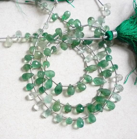 Hard To Find Emerald Green Fluorite Briolette Beads