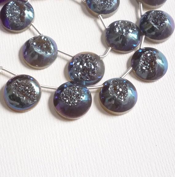 Metallic Blue Paltinum Titanium Druzy Calibrated Briolettes Round PERFECT Earring Size