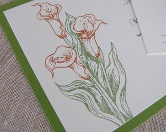 Calla Lilies Wedding Invitations, Floral Wedding Invites, Deposit Listing