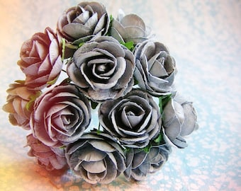 Pewter blue Garden Roses Vintage style Millinery Flower Bouquet - for decorating, gift wrapping, weddings, party supply, holiday