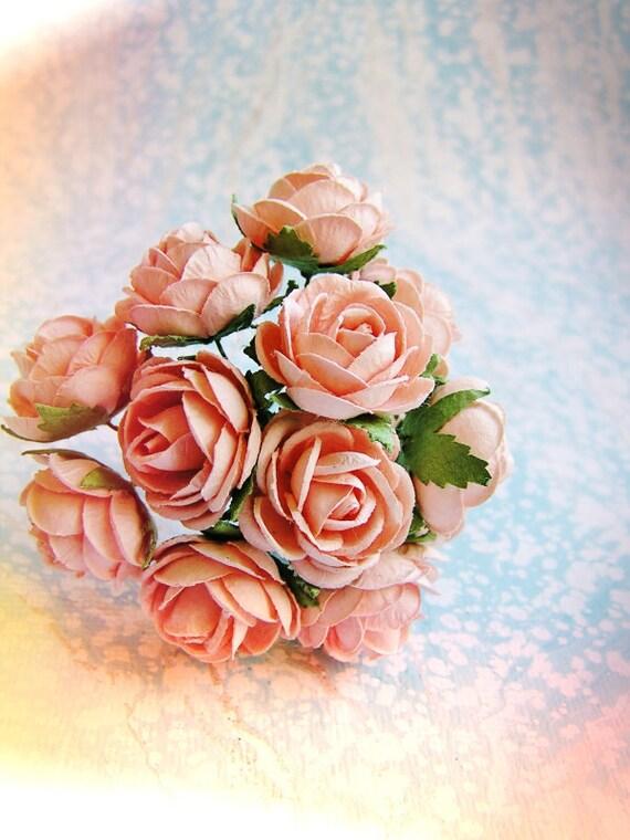 Blush Pink Garden Roses Vintage style Millinery Flower Bouquet