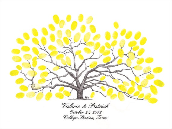 Thumbprint Tree Wedding Guest Book Texas A&M Century Oak Aggie Wedding