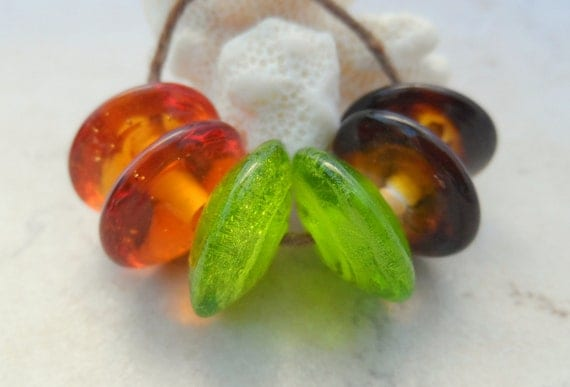 Lampwork Beads - Handmade Glass Beads - Autumn Disks