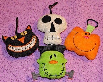 4 halloween ornaments cat, skully, pumpkin and Frankee 4x4 hoop Perfect for your Halloween tree