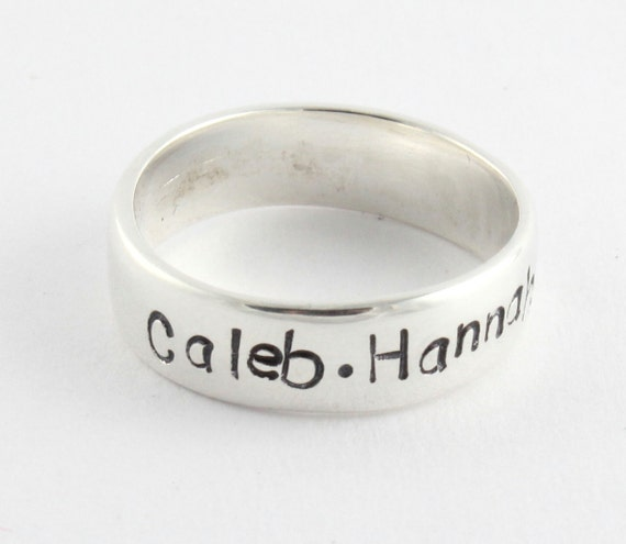 Custom Personalized Sterling Silver Ring Band Size 9 - Size R 1/2 - Hand Stamped Ring