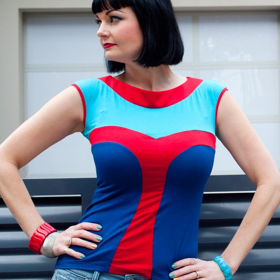 Red, Aqua & Blue Jersey Tank Top, Graphic Designer Fashion T-shirt, Boat Neck, Fitted Body, Cap Sleeve, Made in Australia.