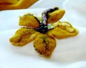Felt Brooch- Mustard  flower - hand felted brooch, mustard, violet, yellow, felted wool