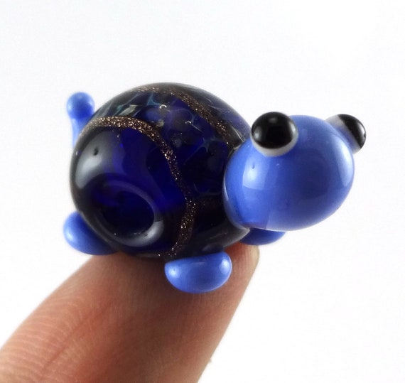 Little Blue and Gold Striped Turtle Lampworked Glass Figurine Bead