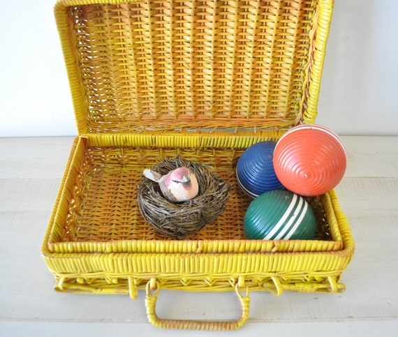 reserved for karla vintage yellow wicker basket
