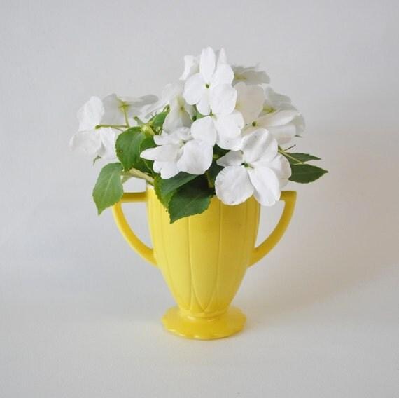 hazel atlas yellow pitcher--vase--syrup pitcher