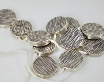 3 Thai Silver Coin Beads (25mm)