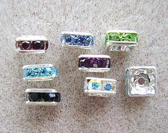 Beads,Swarovski, Squaredelle, 6mm, Rhinestone,  Color Choice, Spacer, Bead ,Bling, 10 Pieces, I