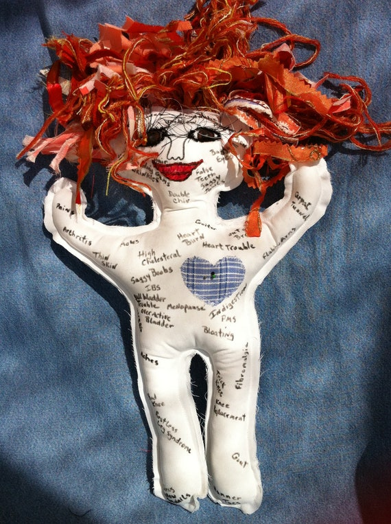 Rusty Auburn hair and Brown eyed Ache and Pain Doll great for Birthdays, Retirement, doctors, nurses....