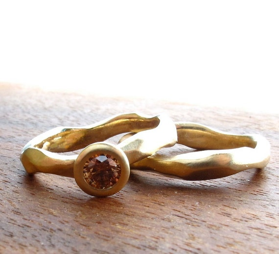 Rough Hewn Carved Wedding Ring Set, 14kt recycled yellow gold, bezel set cognac diamond, engagement ring with women's wedding band