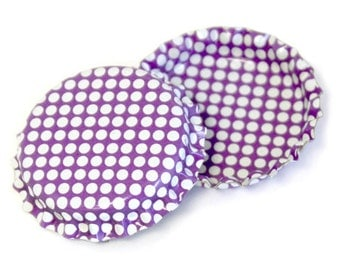 50 Bright Purple w/ White Polka Dots Pattern Bottle Caps Jewelry Collection New Linerless Pastel