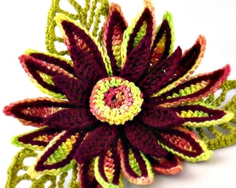 Crochet Brooch Fiber Brooch Irish Crochet Pin Daisy Brooch Cranberry Yellow Chartreuse Crochet Flower Pin Crochet Flower Brooch