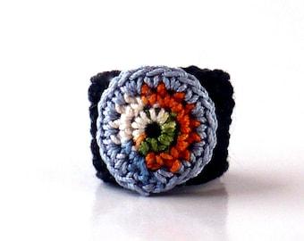 Crochet Ring Fiber Ring  Circle Design Country Blue Indigo Black Orange Green Ecru
