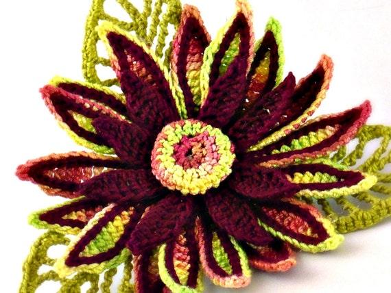 Crochet Brooch Fiber Brooch Irish Crochet Pin Daisy Brooch Cranberry Yellow Chartreuse Crochet Flower Pin Crochet Flower Brooch
