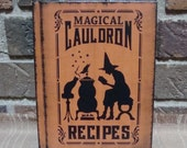 Prim Halloween Blank Journal Lined Pages Magical Cauldron Recipes Hp Orange