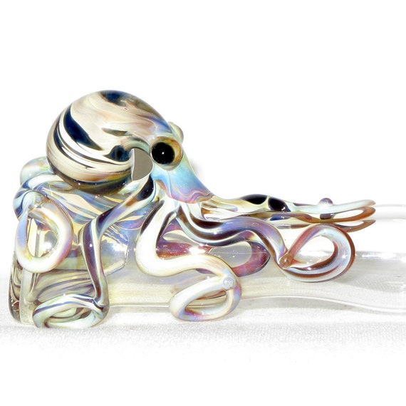 Octopus Chillum Medium Fumed Color Changing Hand Blown Glass