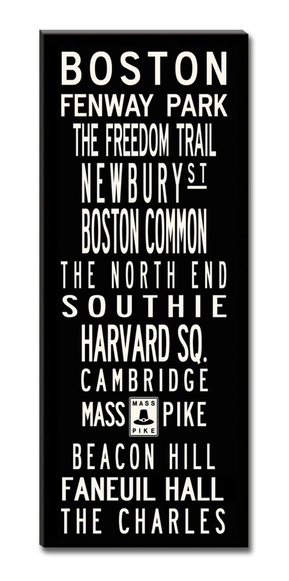 SALE PRICE-BOSTON, Large 24x60 Gallery-Wrapped Canvas Subway Art