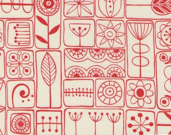 Red And Ivory Summersville Print 100% Cotton Quilting Fabric
