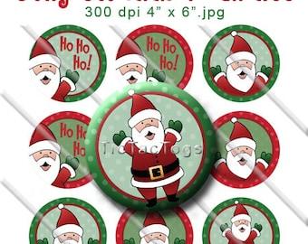 Jolly St. Nick Santa Bottle Cap Images Digital Art Set 1 Inch Circle Stickers Holiday Christmas Ho Ho Ho - Instant Download - BC169