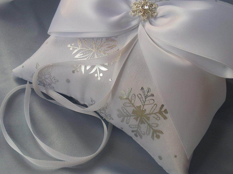 Silver Snowflakes White Ring Bearer Pillow Winter Wedding