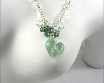 Sea of Love, Lampwork Heart Necklace, Dicroic heart pendant, crystal and pearl charm necklace, aqua, sea green, By Xanna's Jewelry Box