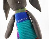 Chocolate Denim Button Bunny Vegan Friendly Children's Plush Toy