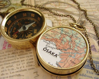 Compass Map Necklace - Osaka Japan Map, custom choose your city map - personalized gifts anniversary men pocket chain keychain