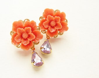 Coral cherry blossom dangle earrings, Bridal earrings sakura blossom lavender rhinestone floral jewelry wedding party gift