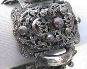 Shabby Chunky Filigree Bracelet Silver Vintage