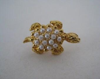 Turtle Tie Tack Gold Pearl Vintage Pin