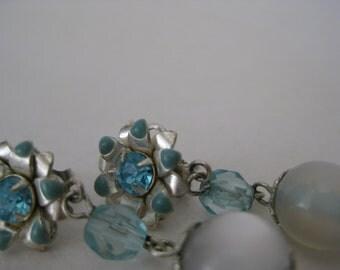 Flower Blue Earrings Pierced Post Silver Dangle Vintage