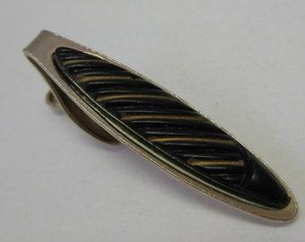 Black Gold Tie Clip Bar Vintage
