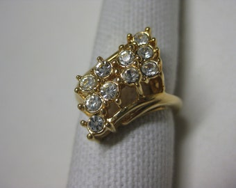 Gold Cocktail Ring Rhinestones Clear Vintage Size 6 3/4