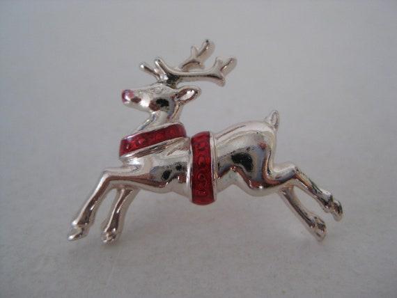 Reindeer Tie Tack Silver Red Vintage