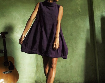 Tulip tunic/mini dress (1467) turtle neck Deep Purple  in one size and all colors