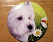 Pocket Handbag Mirror with image from art painting Dog 83 Westie by L.Dumas