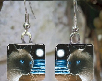 Cat 396 Siamese Art Glass Earrings square from painting by L.Dumas
