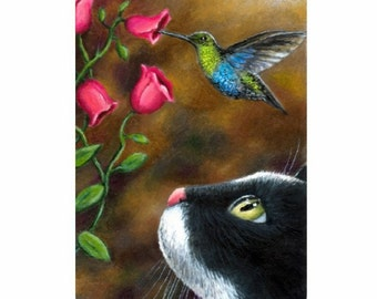 Fridge Magnet Print ACEO from my original painting Cat 571 Hummingbird by Lucie Dumas