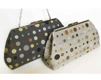 "Sophisticated Dots Modern Clutch Purse with 24"" Chain - FOUR Color Options - Made to order by UPSTYLE"