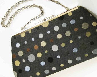 Fun Dots Clutch Purse with Chain, Bridesmaid Gift, Mother of the Bride, Wedding Bridal Purse, Prom